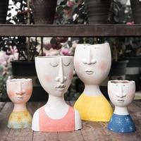 Ins Happy House Art Portrait Sculpture Flower Pot Flower Balcony Garden Decor Vase Dried Flower Vase for Wedding Decoration