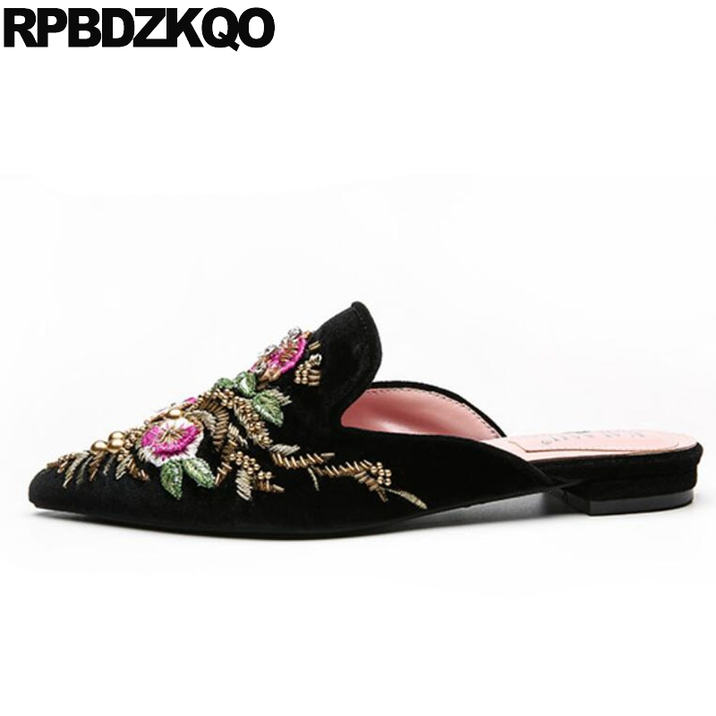 цена Mules Flats Pointed Toe Floral Slippers Flower Chinese Embroidered Shoes Women Velvet Sandals Handmade Purple Embroidery Beaded