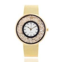 купить New Fashion Rhinestone Women Watches Stainless Steel Mesh watch Women Band Luxury Brand Quartz Watches Relogio feminino Clock по цене 93.79 рублей