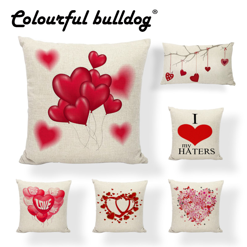 Valentines Day Cushion Covers Balloon Of Love Ribbon Flowers Patterns Home Decor Living  ...