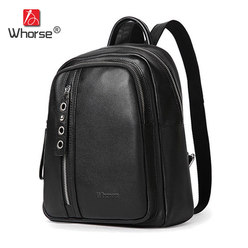 [WHORSE] Brand Genuine Leather Women Backpack Vintage School Bags Casual Ladies Real Cowhide Backpacks Back Pack Black W09450 2016 new free shipping 100% real genuine cowhide leather women s backpacks brief ladies casual backpack girl school bag 3 color