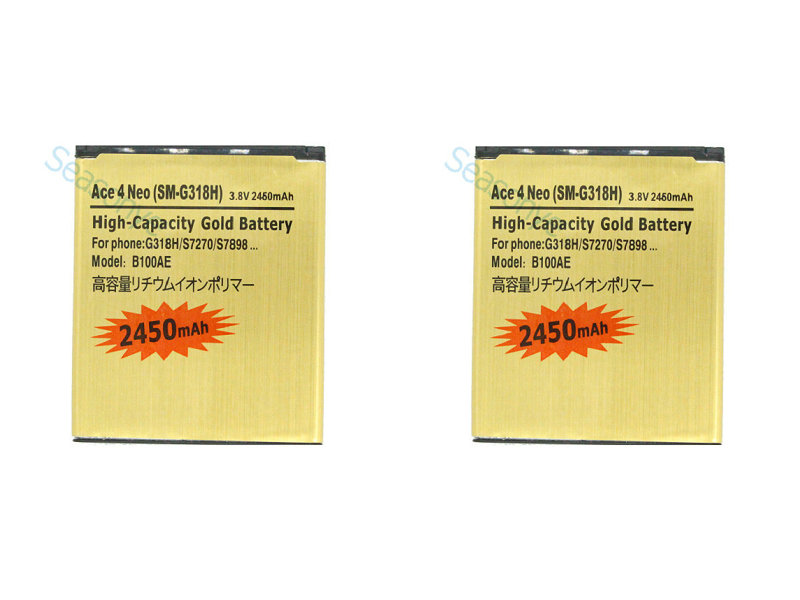 2PCSLOT 2450mAh B100AE  EB-BG313BBE Gold Replacement Battery For Samsung Galaxy Ace 3 ACE 4 Neo S7270 S7272 S7898 S7562C G318H