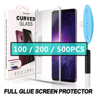 100PCS 3D Curved Full Glue Tempered Glass For Samsung huawei Full Adhesive Screen Protector Case Friendly With UV Light In Box