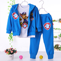 2017 New Chidren Kids Boys Clothing Set Autumn Winter 3 Piece Sets Hooded Coat Suits Fall Cotton Baby Boys Clothes patrulha pata