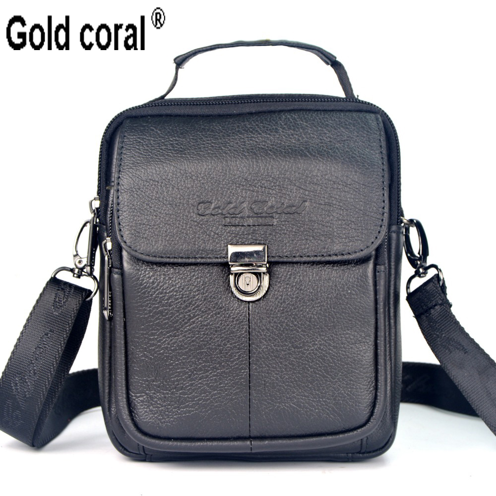 ФОТО Gold coral cowhide waist pack male shoulder bag  genuine leather handbag man bag small messenger bags for men