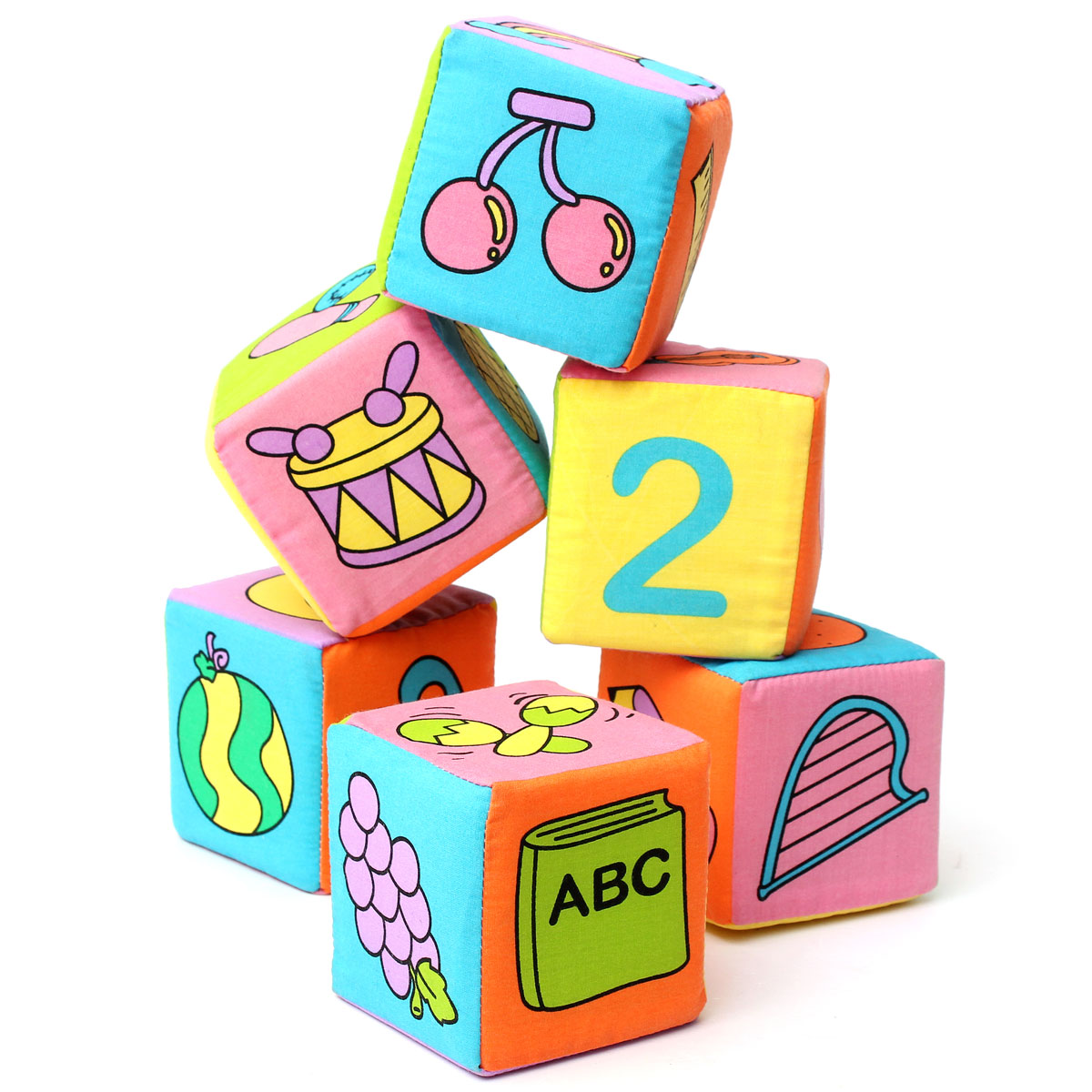 6pcs/set Cotton Baby Itty-Bitty Multifunctional Soft Magical Bell Rattle Blocks For Kids Learning And Educational Toys Gifts