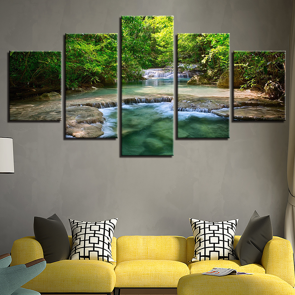 Canvas Paintings Wall Art Framework Home Decor 5 Pieces Green Forest Trees Lake Flowing Water Pictures Prints Landscape Posters no frame canvas