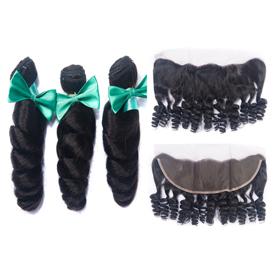 OYM Human Hair Loose Wave Bundles With Frontal Peruvian Hair Extension With Baby Hair 13*4 Remy Hair Bundles