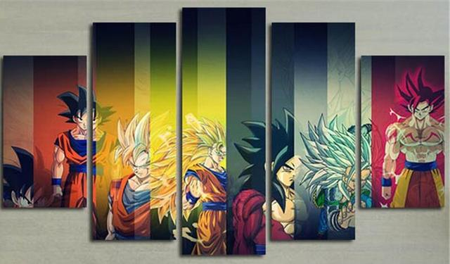 5 Planes Colorful Wall Canvas Painting Dragon Ball Posters Prints Wall Art  Picture For Living Room