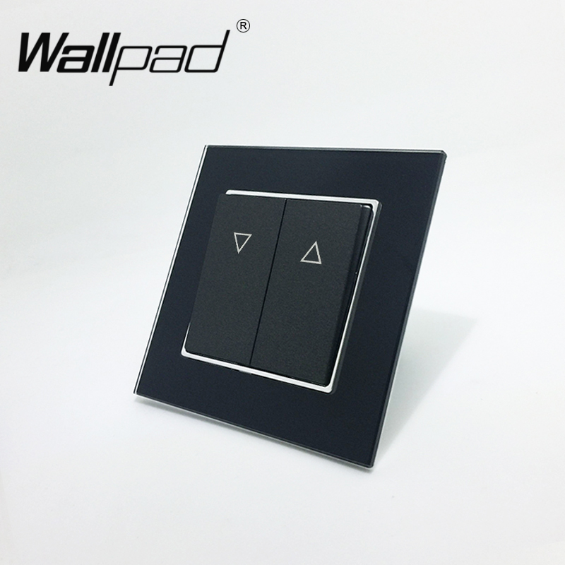 Curtain Switch Wallpad 110-250V Black Luxury Glass EU European Style Reset Curtain Window Blind Wall Switch with Clip Mounting цена