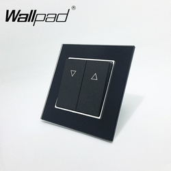 Curtain Switch Wallpad 110-250V Black Luxury Glass EU European Style Reset Curtain Window Blind Wall Switch with Clip Mounting