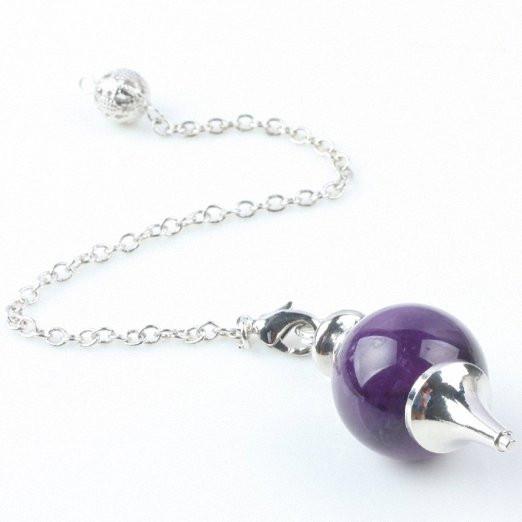 Aoneitem Amethyst Quartz Gemstone Stone Ball Point Divination Dowsing Reiki Healing Chakra Pendulum2_