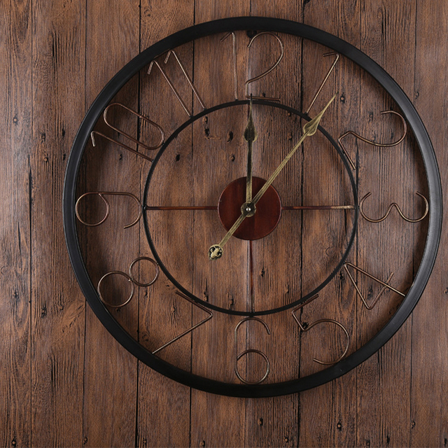 Personalized antique wall clock  minimalist style wall clock creative iron circular art metal wall clock home decoration clock