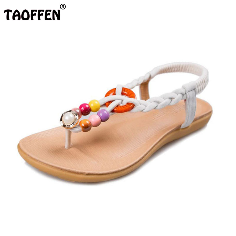 TAOFFEN National Style Women Bohemia Flats Sandals Elastic Bowknot Flip Flops Sandals Summer Holiday Women Shoes Size 35-40 vintage embroidery women flats chinese floral canvas embroidered shoes national old beijing cloth single dance soft flats