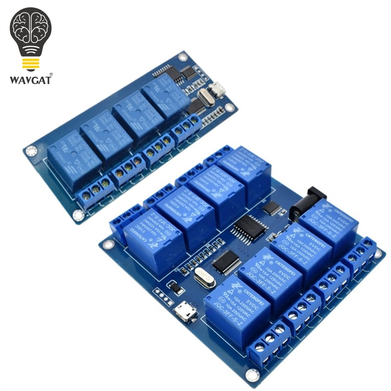 WAVGAT DC 5V 10A 4 8 Channel Relay Module Micro USB Board With Indicator PC Upper Computer ICSE014A Software Control