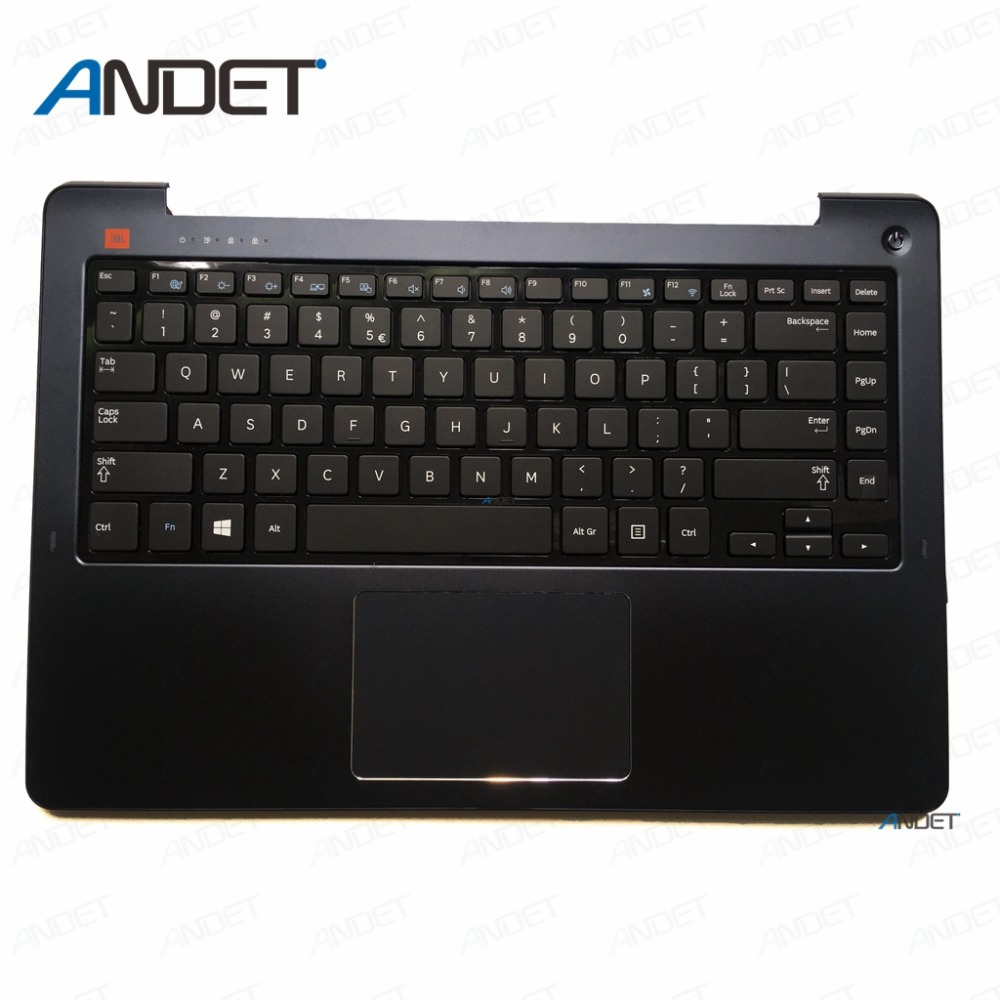 Laptop Palmrest For <font><b>Samsung</b></font> <font><b>NP530U4E</b></font> 530U4E US <font><b>Keyboard</b></font> Bezel Upper Lid Top Case Cover Touchpad Blue BA75-04632A image