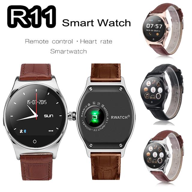 R11 RWATCH Relógio Smartwatch inteligente Controle Remoto Infravermelho Heart Rate Monitor Sports Relógio De Pulso Do Bluetooth para IOS Android VS KW18