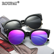ROUPAI 2017 New Popular Cat Eye Sunglasses Women Brand Designer Polarized Cateye Sun Glasses Vintage Female Coating Eyewear