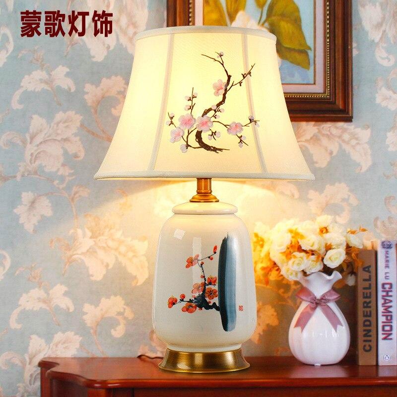 Туда 38X48 см Бесплатная доставка китайский классический Стиль настольная лампа ручная роспись Керамика настольная лампа исследование Гости...