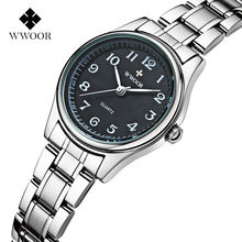 Купить с кэшбэком Top Brand WWOOR Women Watches Stainless Steel Band Analog Display Quartz Wrist watch Ladies Luxury Couple Watch Relogio Feminino