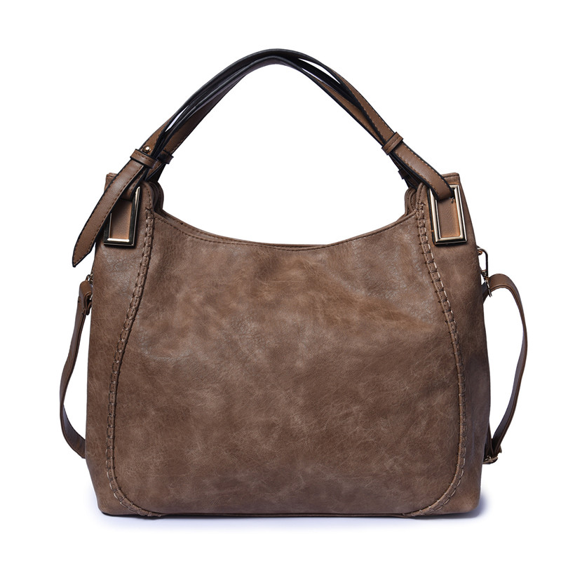 Big Hobo Handbag Soft Leather Large Tote Bag Solid Color Female Simple Shoulder Bags Black Color Office Lady Handbags