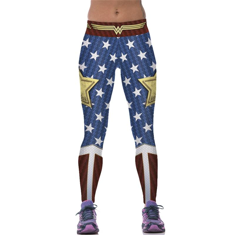 New Arrival Wonder Woman Leggings Elastic Waist Blue Butter Lift Polyester Trousers 2018