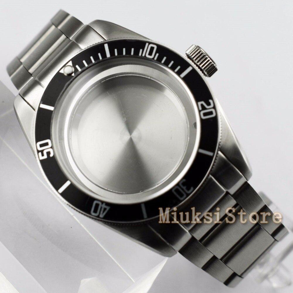 41mm koperta zegarka ze stali nierdzewnej pasuje do ETA Miyota 2836 8205 8215 821A Mingzhu/DG 2813 3804 męskie zegarki w Zegarki mechaniczne od Zegarki na  Grupa 3