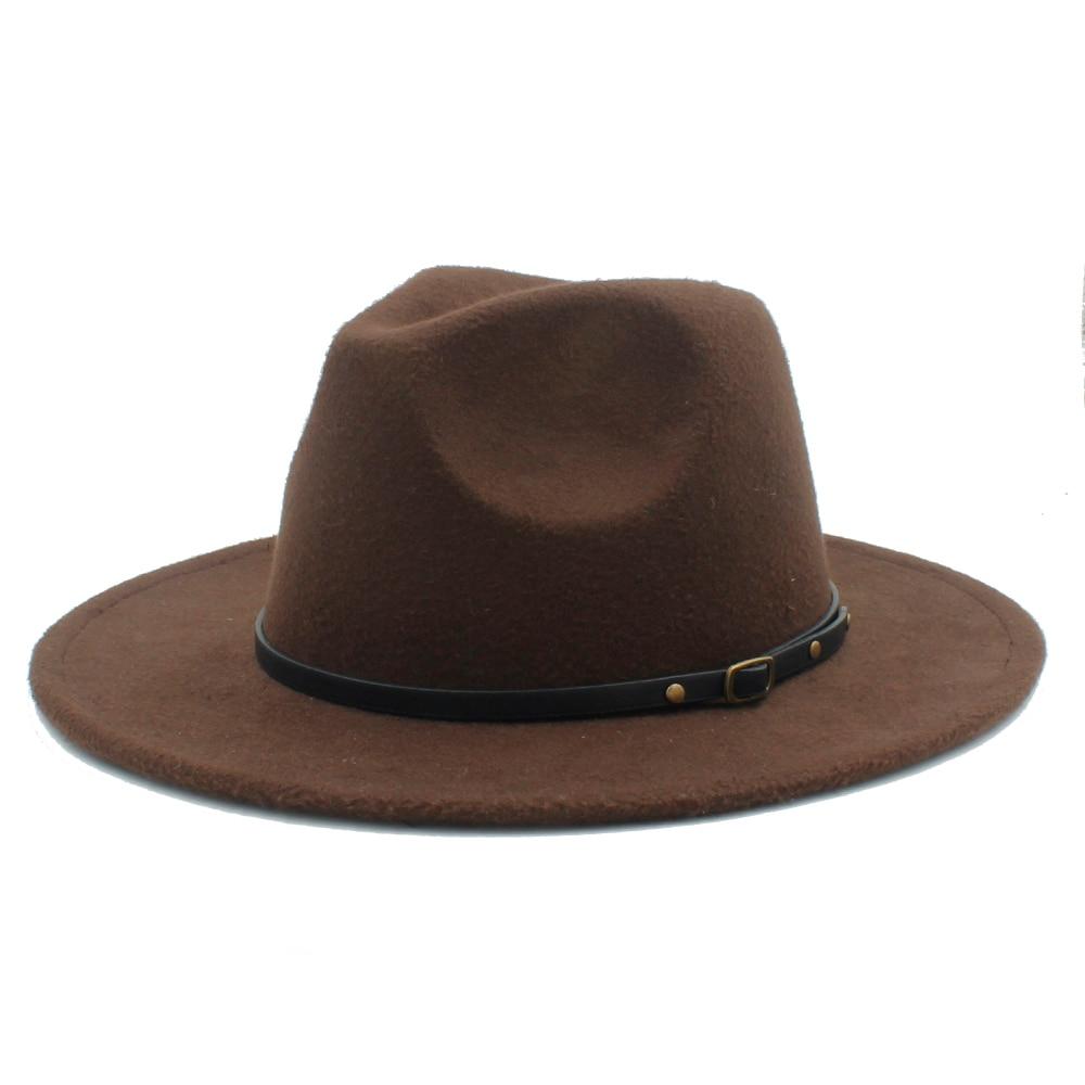 3650073c3 100% Wool Women Outback Felt Gangster Trilby Fedora Hat With Wide Brim Jazz  Godfather Cap Szie 56-58CM X18