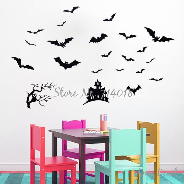 Bats Own Tree And Haunted House Halloween Wall Decal Festival Wall Decor  Kids Playroom Wall Tattoo