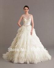 Vintage Wedding Dresses Jewel Neckline Beaded Pearls Tiered Tulle Sash Sweep Train Vestidos
