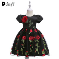 European and American Vintage Halloween Costumes for Girls Teens Girl Rose Appliques Evening Dress for Carnival Party