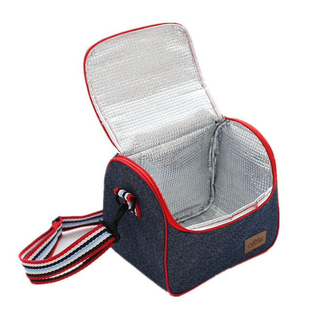 Travel Picnic Denim Cooler Bag Portable Shoulder Strap Insulated Pack Food Beer Fresh Storage Container Women's Kid's Lunch Tote