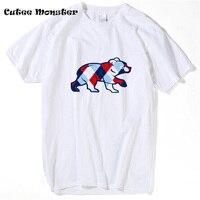 Argyle Cubs T Shirt 2017 Fashion Bear Printed T Shirt Chicago Cubs Summer Short Sleeve Top