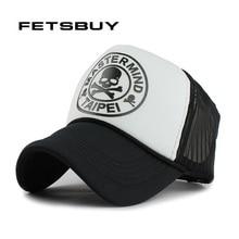 Fetsbuy casual unisex cráneo gorra de béisbol de malla de verano gorras planas casquette snapback hombres gorra de béisbol cupo los sombreros tapas