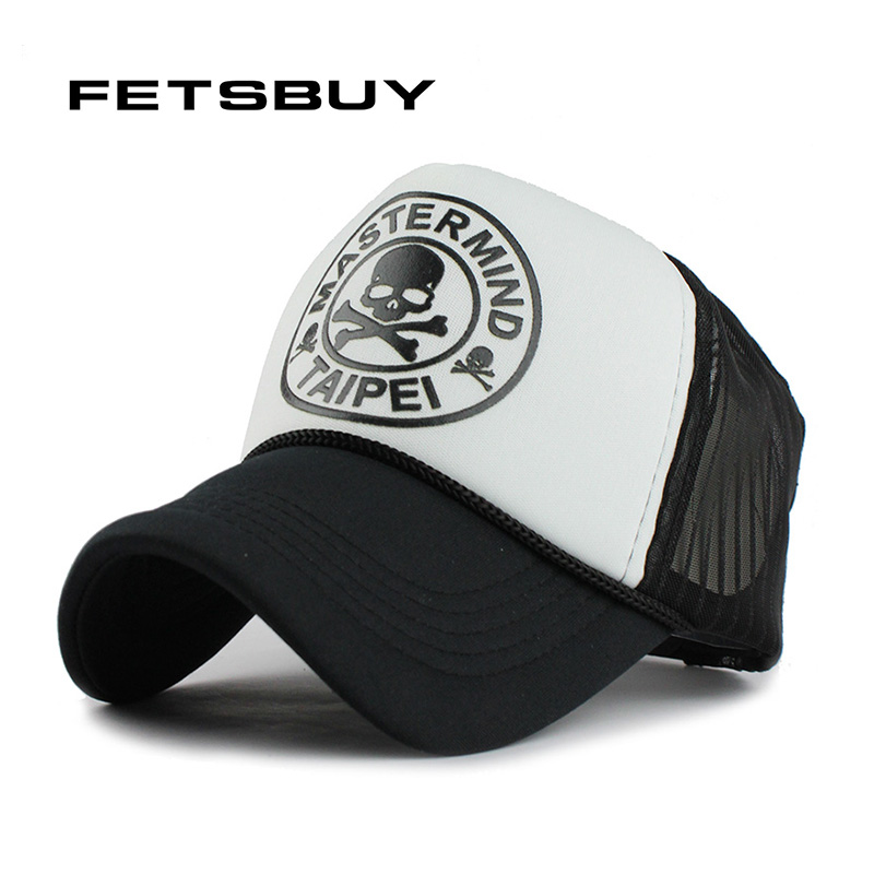 Fetsbuy casual unisex schädel mesh baseballmütze sommer casquette snapback gorras planas baseball cap männer mützen caps