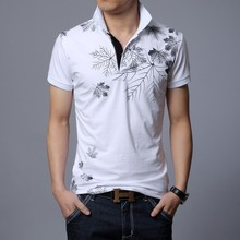 Summer  Printed Men Polo Shirt Short Sleeve Cotton Polo Homme High Quality Breathable Casual