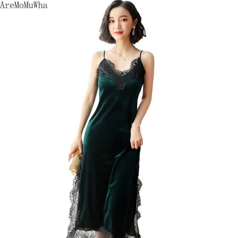 AreMoMuWha 2019 新しい秋のベルベットドレス小さなドレス気質袖ガーゼステッチスリム痩身 V ネックドレス MH223