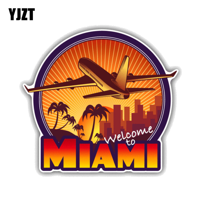 YJZT 12.7CM*11.5CM Welcome To Miami Travel  PVC Motorcycle Car Sticker 11-00432