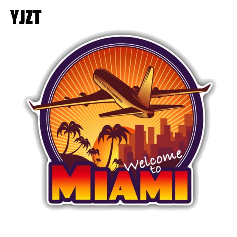 YJZT 12.7CM*11.5CM Welcome To Miami Travel  PVC Motorcycle Car Sticker 11-00432