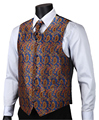 VE18 Aqua Orange Paisley Top Design Wedding Men 100% Silk Waistcoat Vest Pocket Square Cufflinks Cravat Set for Suit Tuxedo