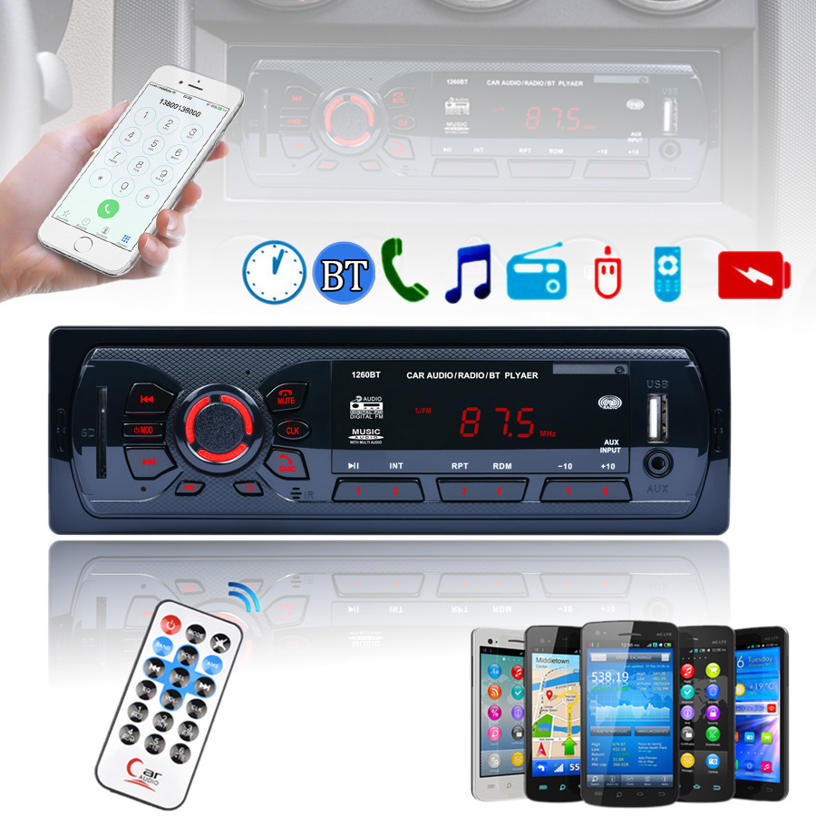 12V 1 DIN In Dash Bluetooth Auto Car Radio Stereo MP3 Audio Player FM Aux Input Receiver Support USB SD MMC + Remote Control amprime car radio stereo audio mp3 player 1 din in dash digital bluetooth phone aux in mp3 fm usb sd remote control 12v input