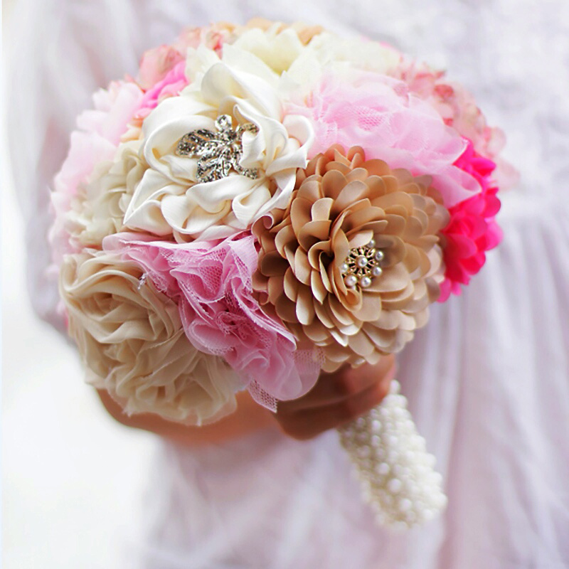 Free shipping gold & ivory pink flower bridal brooch bouquet, Wedding Bride 's Jewelry crystal Pearl Cloth fabric Bouquets