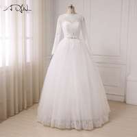 ADLN Cheap Arabic Wedding Dresses Long Sleeves Lace Floor Length Bridal Gowns Illusion Back With Buttons