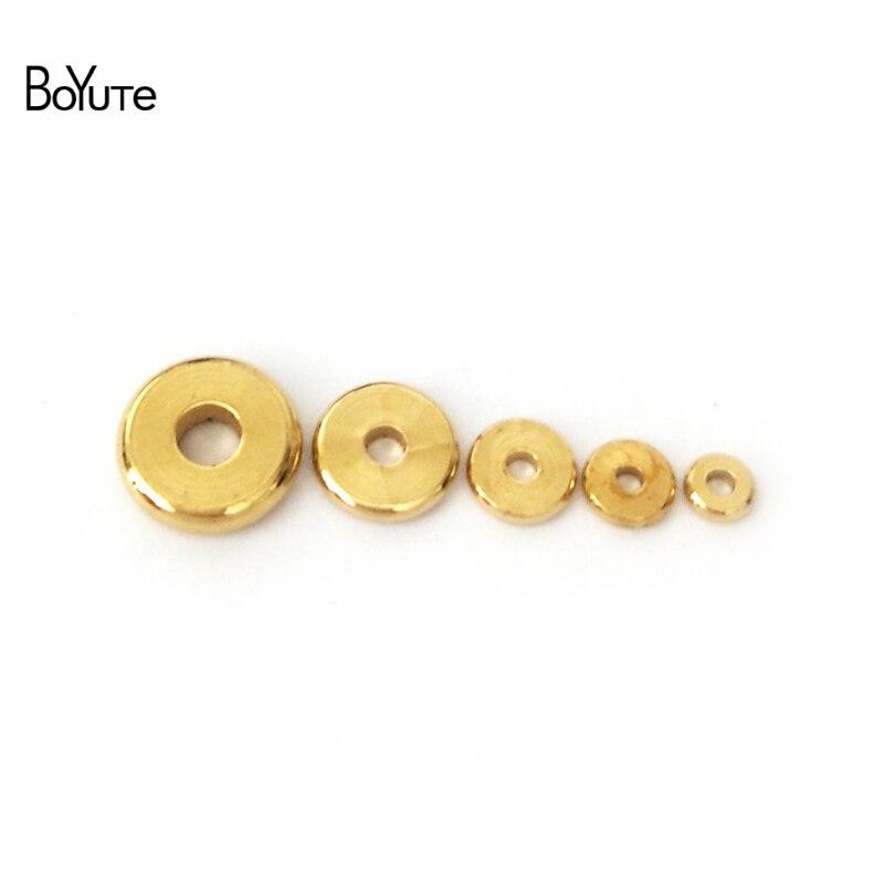 BoYuTe (100 шт./лот) 3 мм 4 мм 5 мм 6 мм 7 мм 8 мм 10 мм 12 мм круглые металлические латунные бусины для самостоятельного изготовления ювелирных изделий