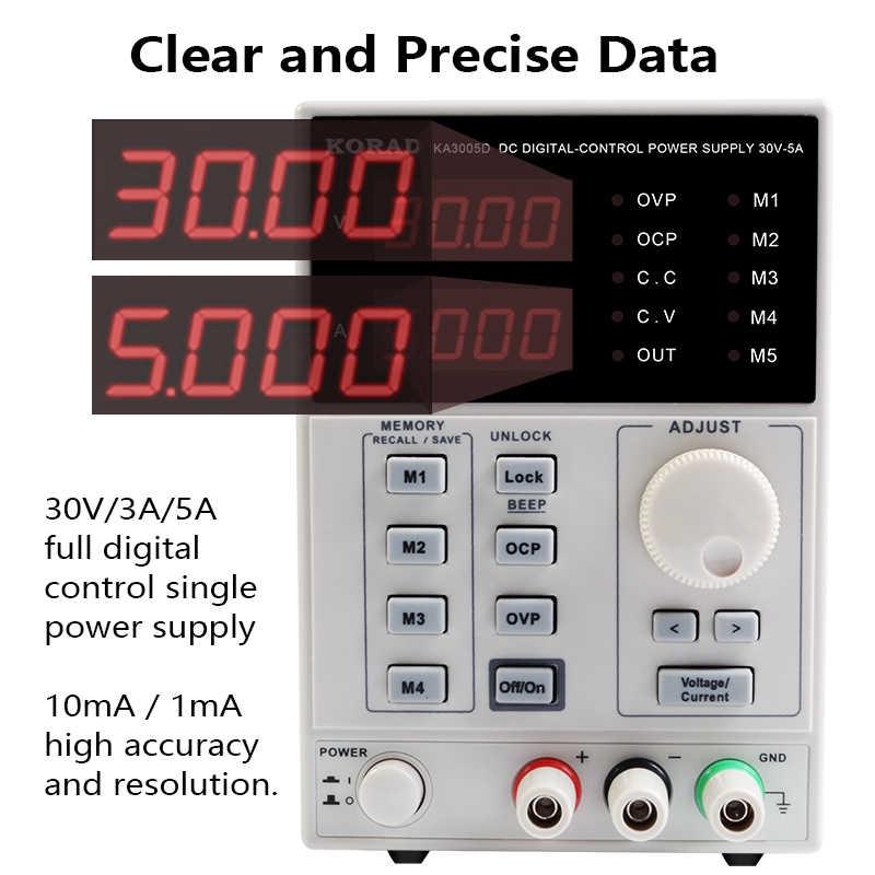 KA3005D 30 в 5A Высокоточный Регулируемый цифровой источник питания постоянного тока 4 Ps цифровой регулятор напряжения блок питания с разъемом вилки