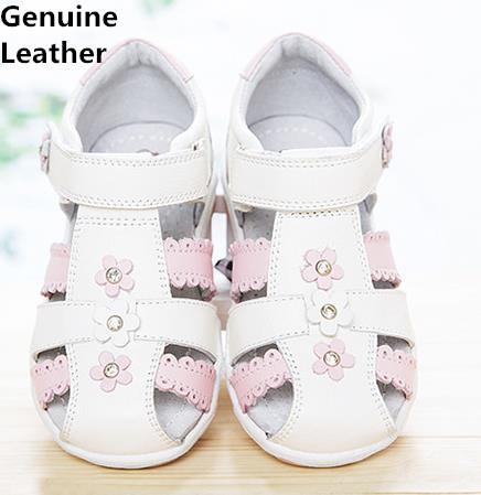 Venda QUENTE Flor 1 pair Ortopédicos Sandálias de Couro Genuíno, qualidade super menina sandálias infantis shoes, sandálias criança