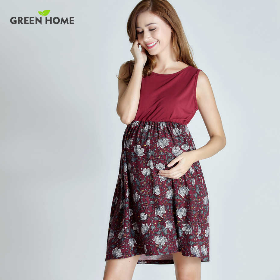068bef6df Casa verde Floral del verano vestidos de maternidad sin mangas vestido de  embarazo para las mujeres embarazadas uso diario maternidad ropa en  Vestidos de ...
