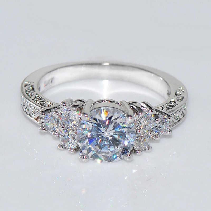 אופנה יפה כסף קריסטל זירקון טבעת גודל 6/7/8/9/10 מכירה לוהטת באיכות גבוהה לנשים כלה