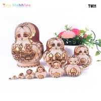 TW01 10PCS Wooden Russian Nesting Dolls Braid Girl Traditional Matryoshka Hot gold St. Peter's Castle christmas decorations