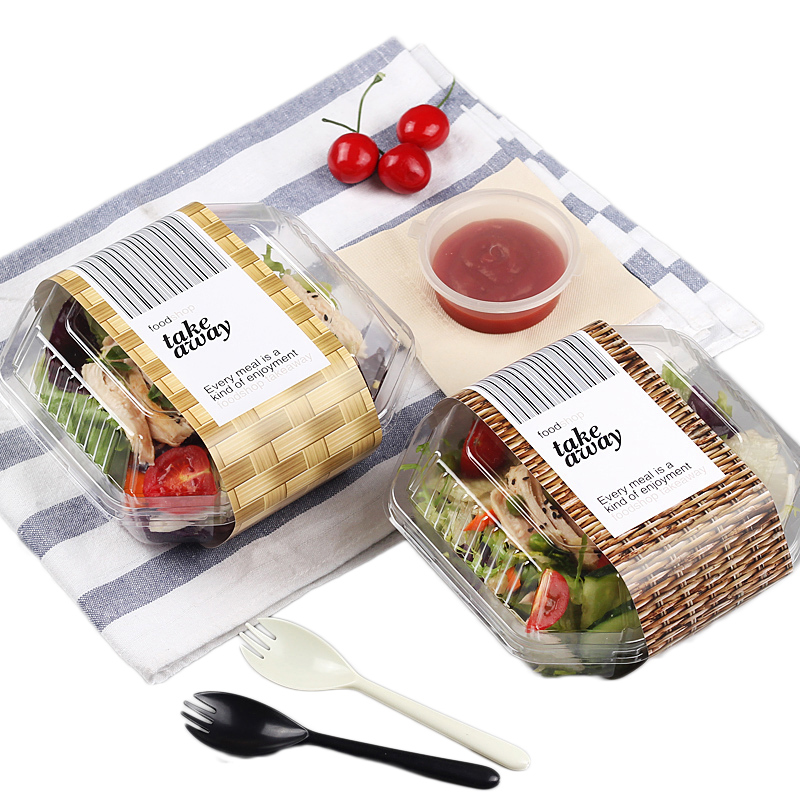 Disposable Plastic Salad Box Food Grade PET Take-out Packing Tool Fruits Snack Tray With Lid Food Container Take Away Box 50set